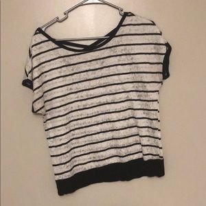 BLACK & WHITE LACE/STRIPE DRESS SHIRT